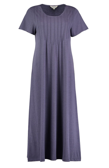 French Pleat Short Sleeve Nightdress (3111) - Slate | Bonsoir of London
