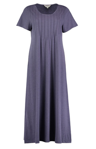 French Pleat Long Sleeve Nightdress (3241) - Blue Swirl