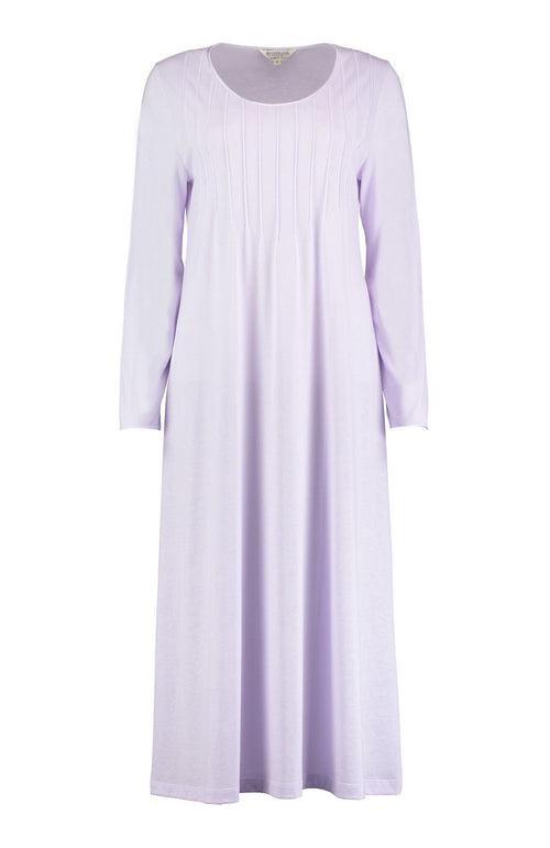 French Pleat Long Sleeve Nightdress (3241) - Lilac | Bonsoir of London