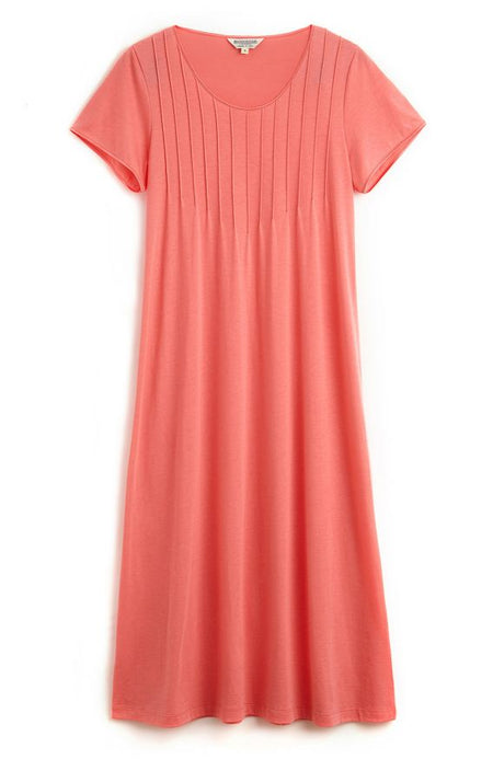 French Pleat Short Sleeve Nightdress (3111) - Coral | Bonsoir of London