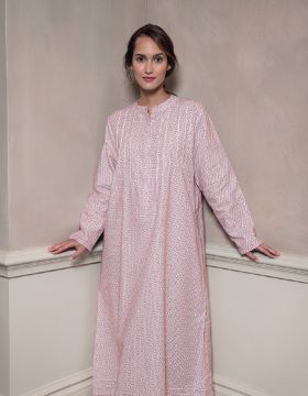 Sophie Lightly Brushed Cotton Nightdress (soph) - Berry Snowflake
