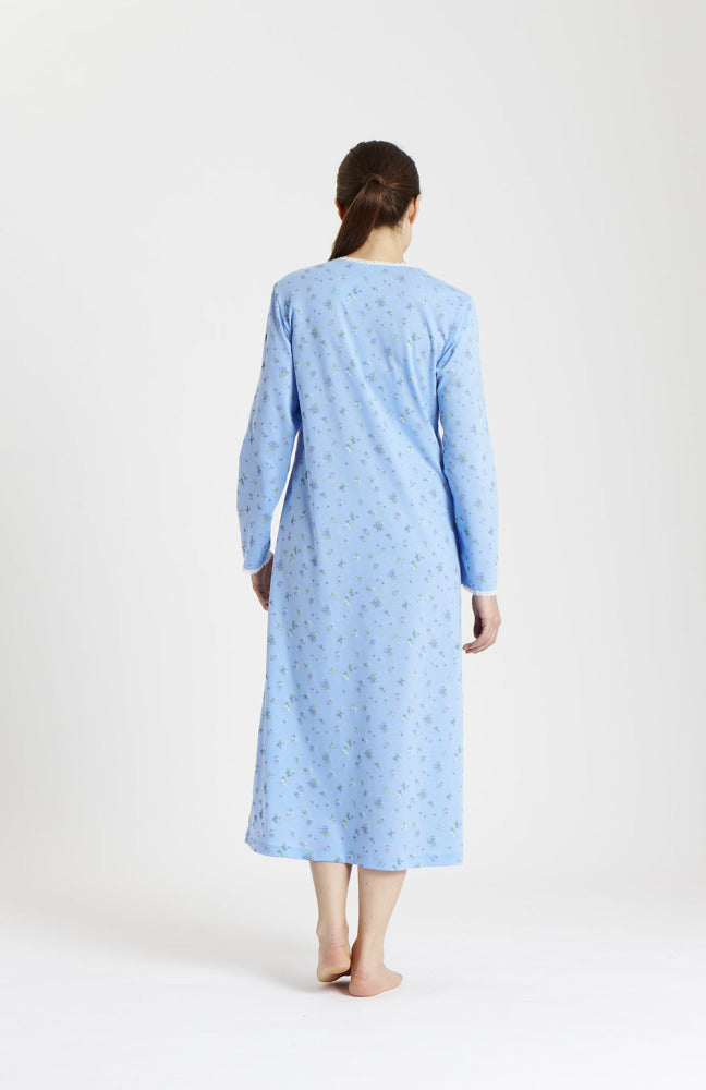 Amy Long Sleeve Nightdress (3026) - Cornflower Floral | Bonsoir of London