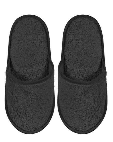 Cotton Towelling Slippers - Charcoal