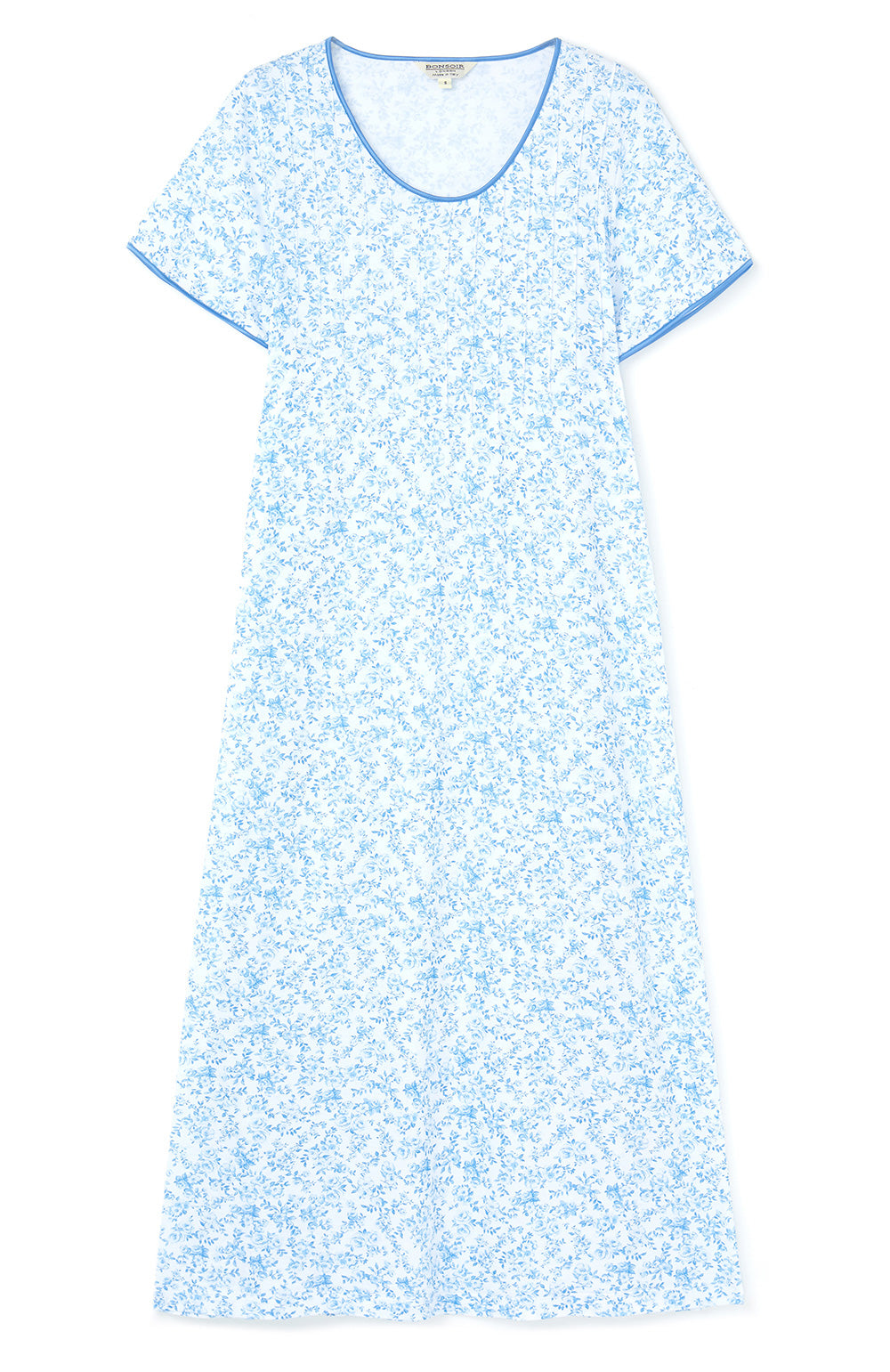 FRENCH PLEAT SHORT SLEEVE NIGHTDRESS - BLUE FLORAL | Bonsoir of London