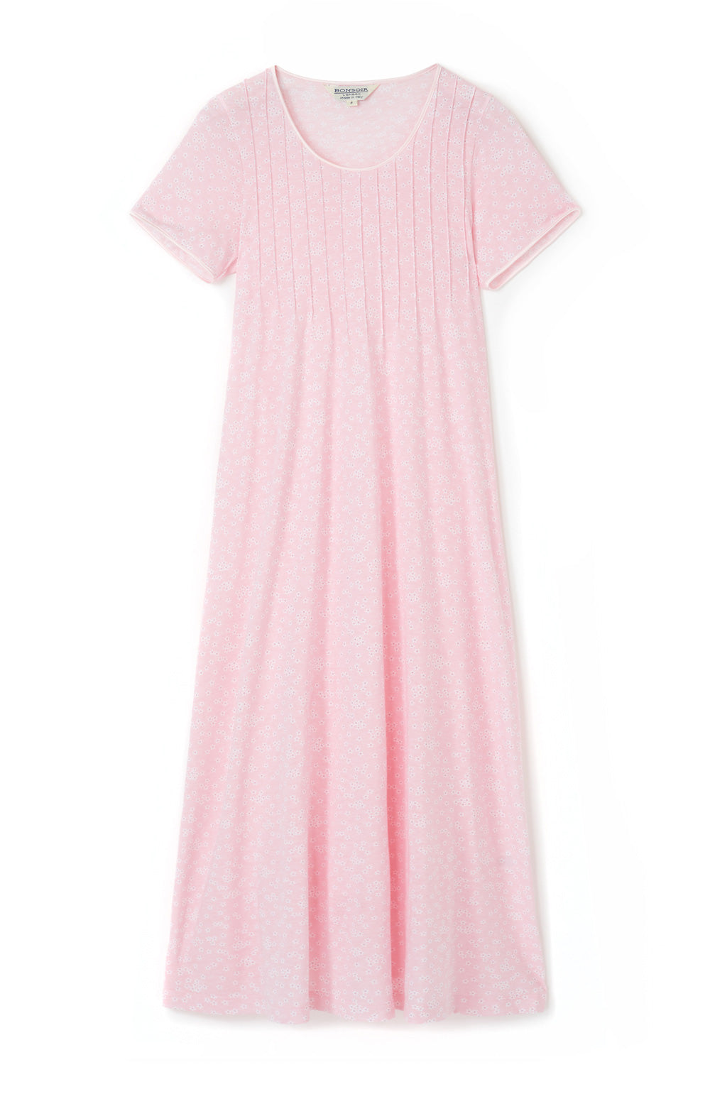 French Pleat Pink Daisy Short Sleeve Nightdress | Bonsoir of London