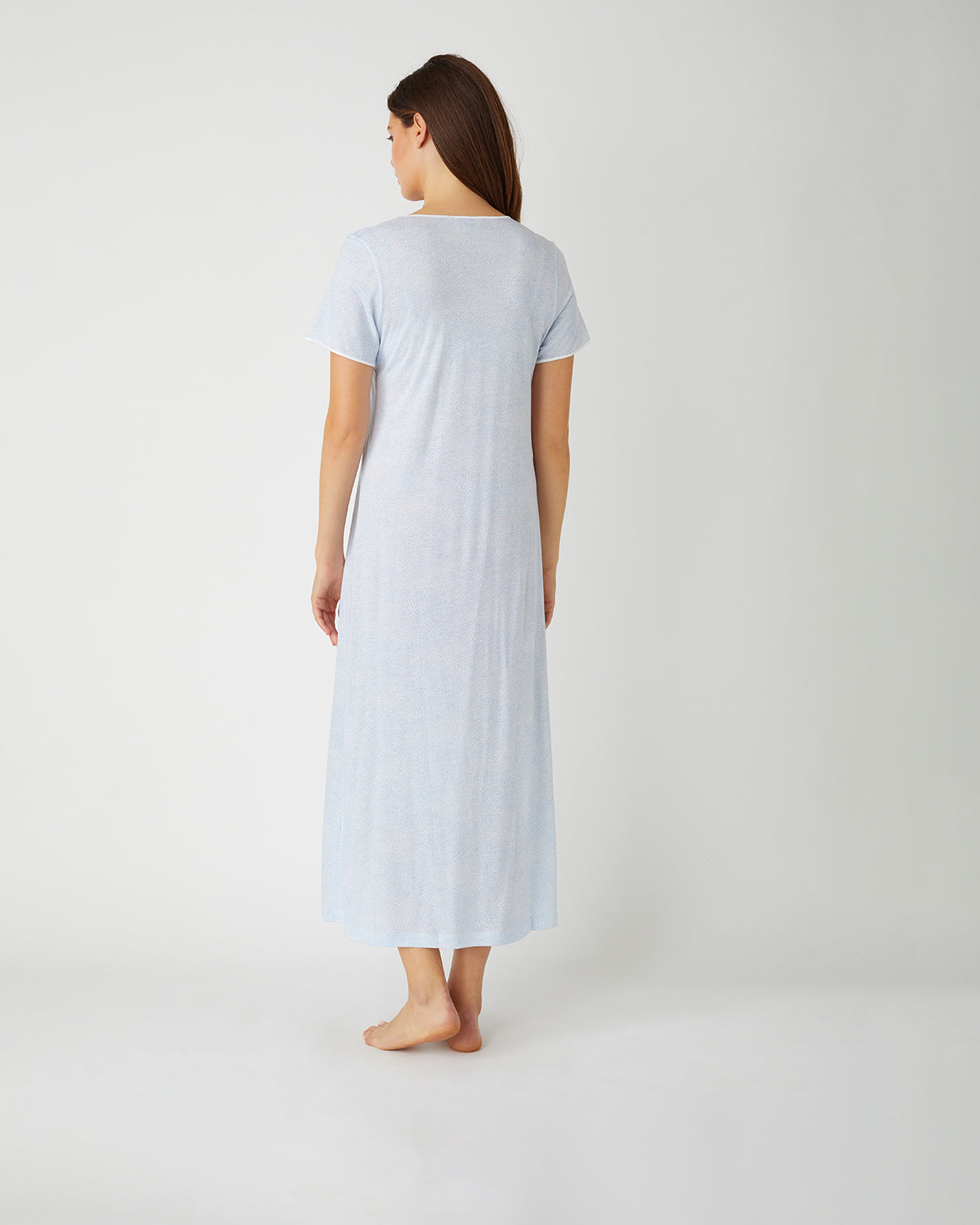French Pleat Blue Swirl Short Sleeve Nightdress | Bonsoir of London