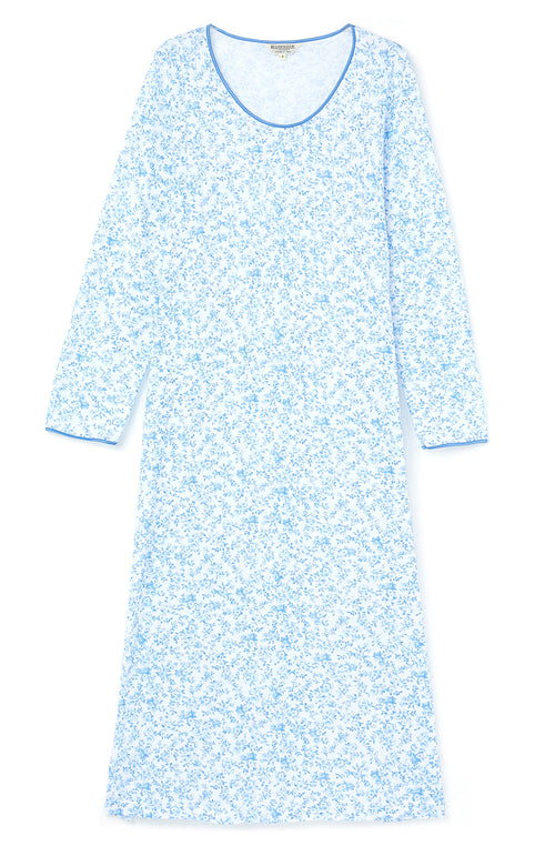 FRENCH PLEAT LONG SLEEVE NIGHTDRESS - BLUE FLORAL | Bonsoir of London