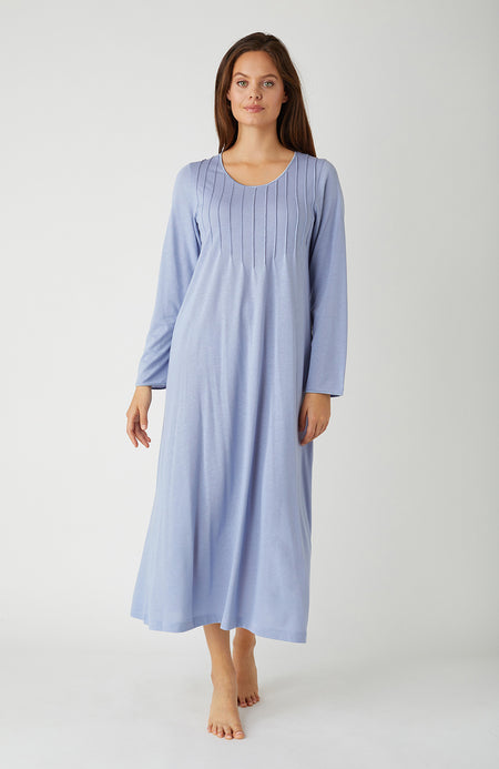 French Pleat French Grey Long Sleeve Nightdress | Bonsoir of London
