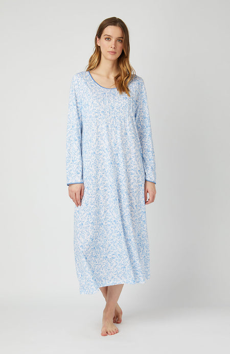 French Pleat Long Sleeve Nightdress (3241) - Blue Floral | Bonsoir of London