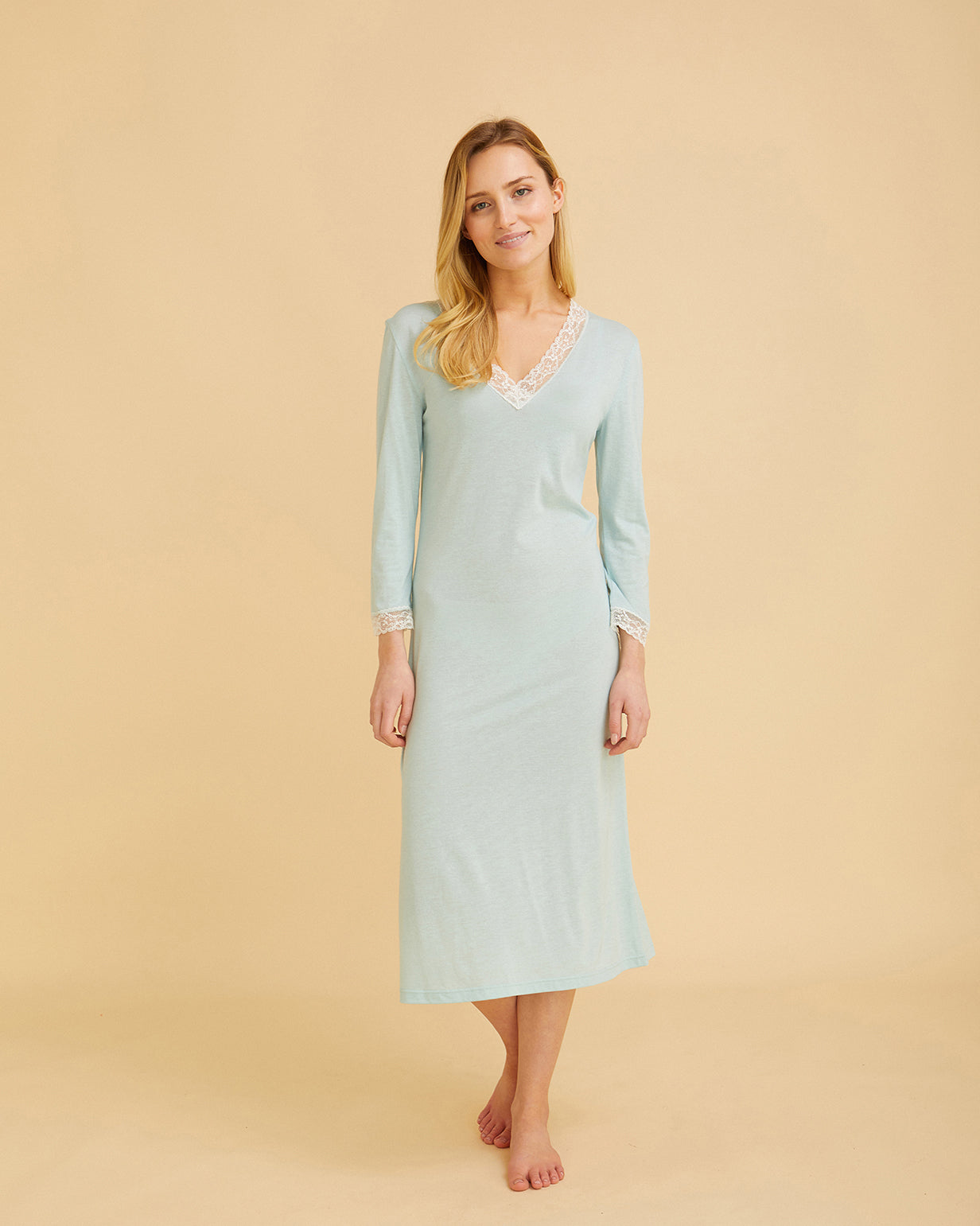 Women's Jersey Nightdress With Lace Mint Green | Bonsoir of London