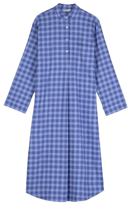 Brushed Tartan Grandad Nightshirt (tllg) - Fellside Blue | Bonsoir of London