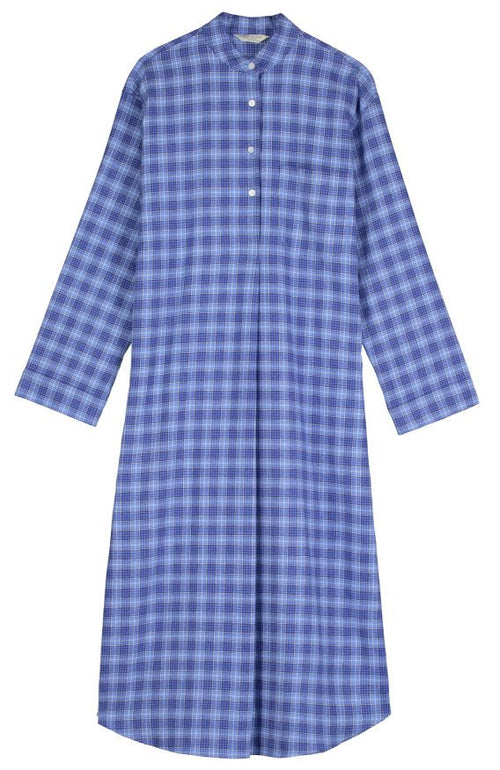 BRUSHED TARTAN GRANDAD NIGHTSHIRT - FELLSIDE BLUE | Bonsoir of London