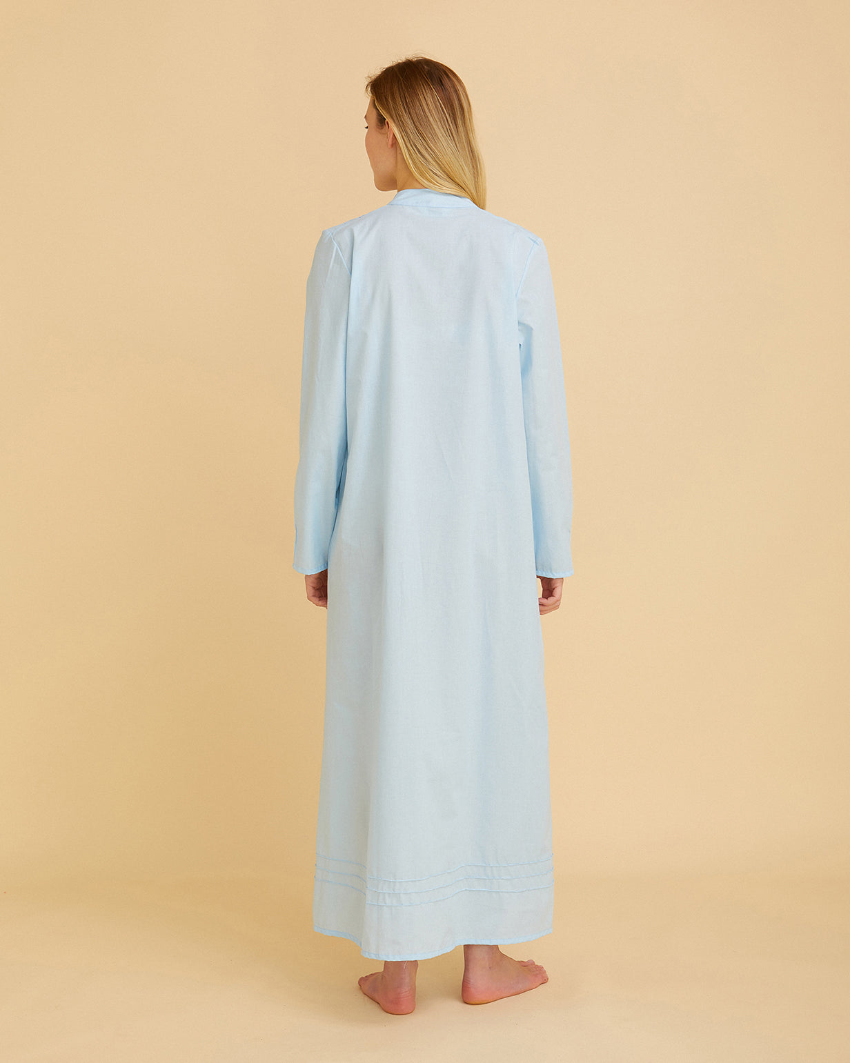 Women's Victoria Long Sleeve Cotton Nightdress – Blue | Bonsoir of London