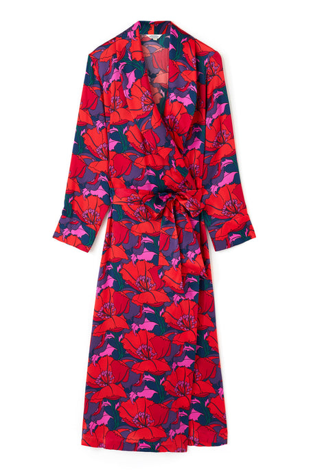 Luxury Poppies Silk Gown | Bonsoir of London
