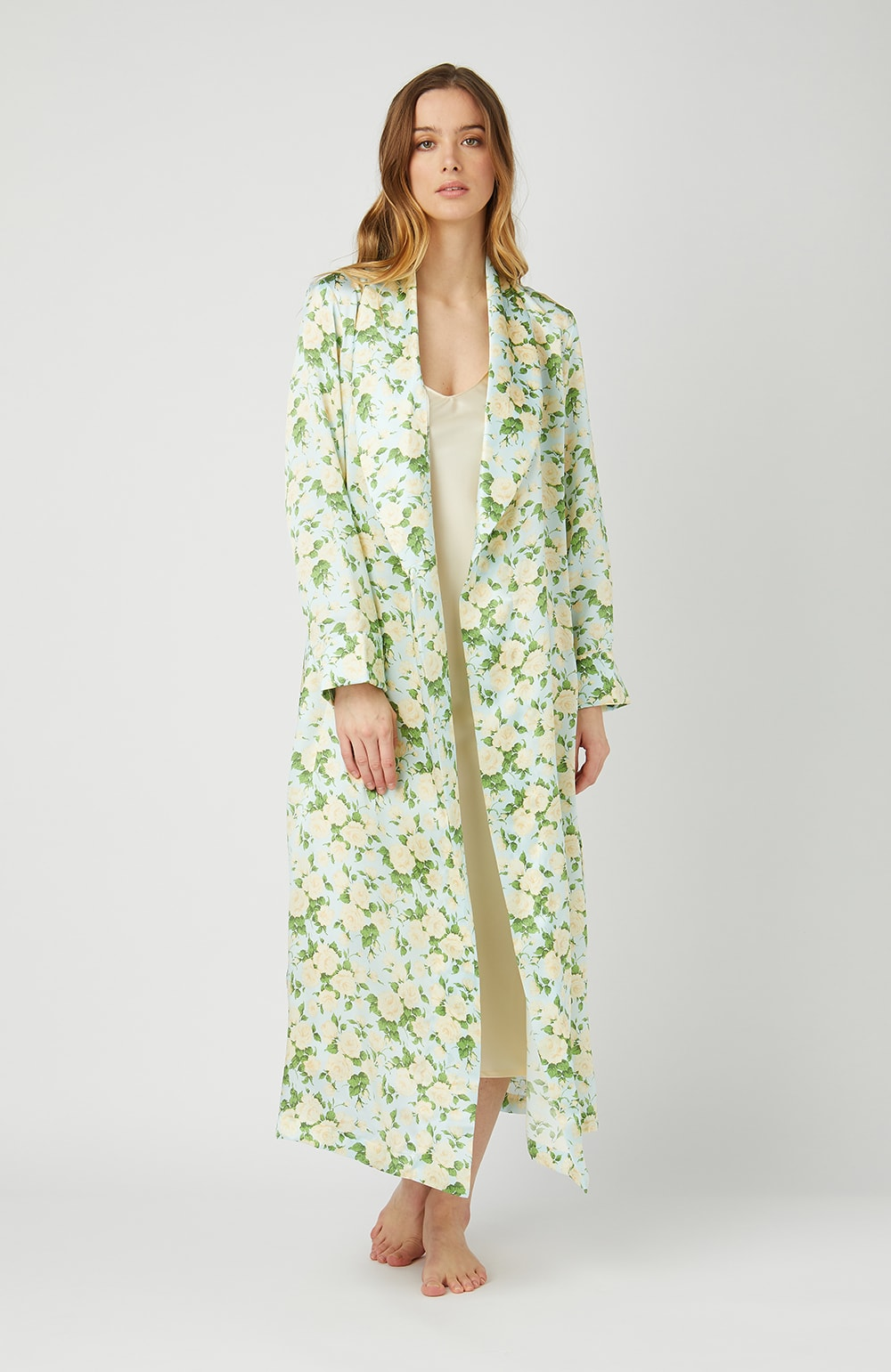 Liberty Print Silk Bathrobe - Open