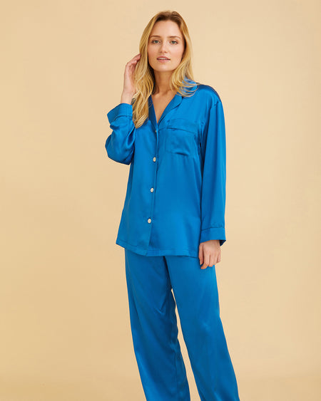 Women's Silk Pyjamas – Peacock Blue | Bonsoir of London