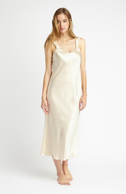 VINTAGE STYLE SILK NIGHTDRESS - OYSTER