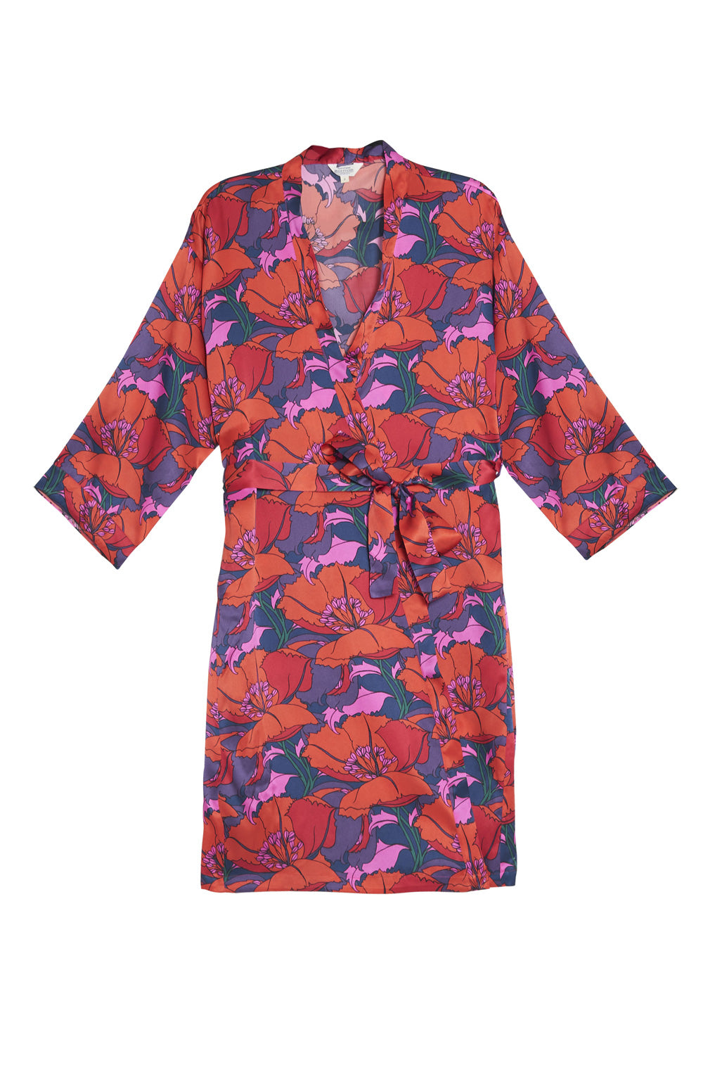 Luxury Poppy Print Silk Short Gown | Bonsoir of London