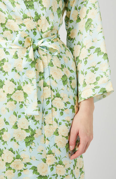 Yellow and Green Silk Robe - Tie Waist