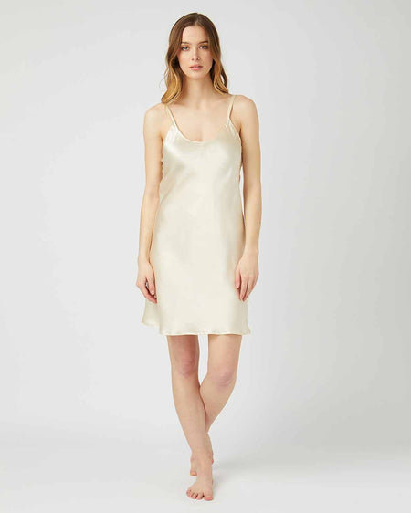 Short Silk Nightdress Cream | Bonsoir of London