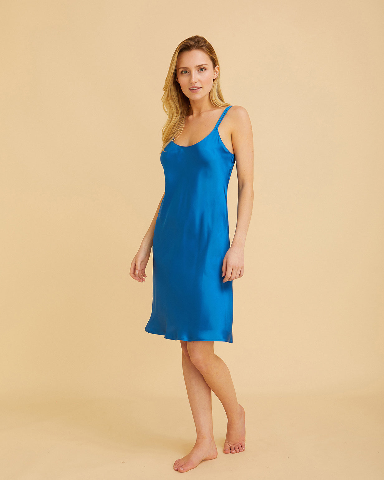 Women's Short Silk Nightdress – Peacock Blue | Bonsoir of London