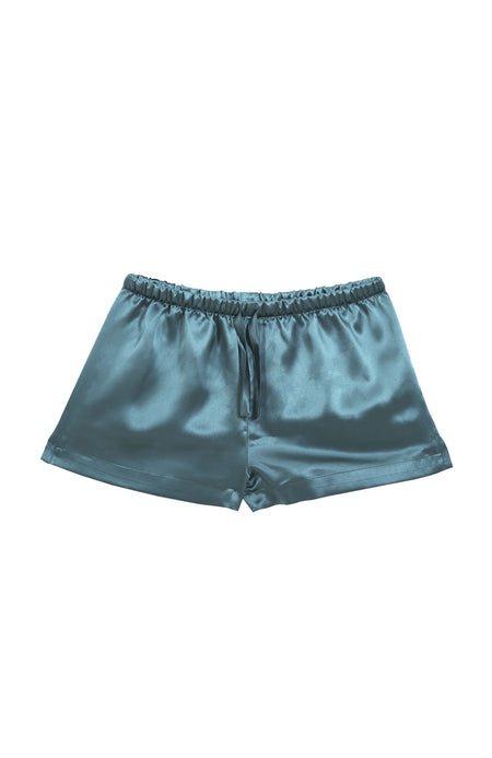 Luxury Teal Silk Shorts | Bonsoir of London
