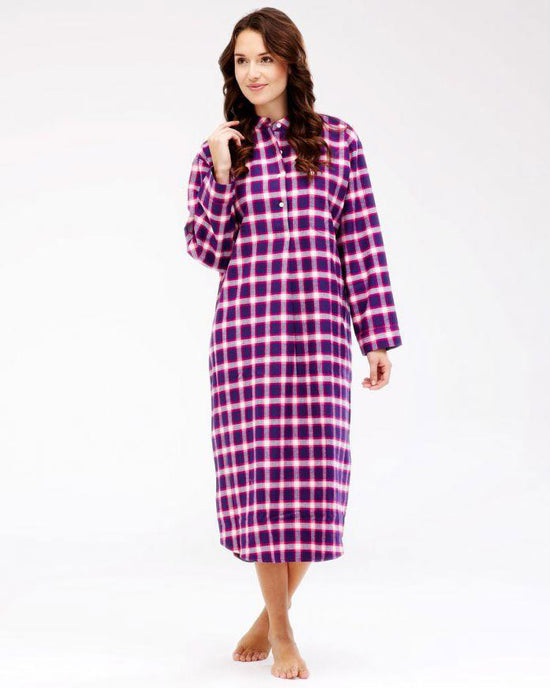 Women's Brushed Cotton Grandad Nightshirt (Tllg) - Berry Paisley