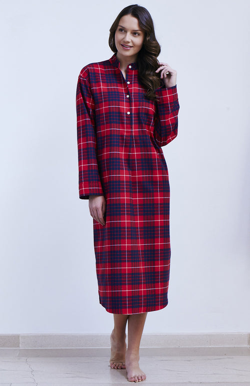 Brushed Tartan Grandad Nightshirt (llg) - Lismore | Bonsoir of London