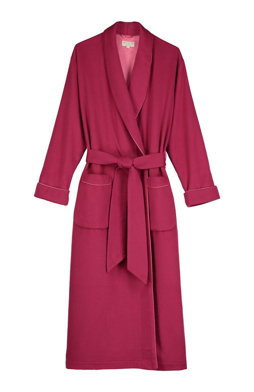 SILK-LINED CASHMERE ROBE - RASPBERRY
