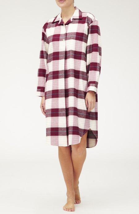 BRUSHED TARTAN NIGHTSHIRT - BRAESIDE | Bonsoir of London