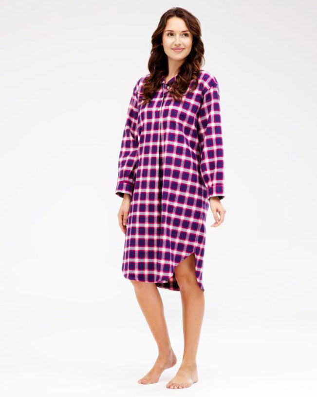 BRUSHED TARTAN NIGHTSHIRT - LINNHE | Bonsoir of London