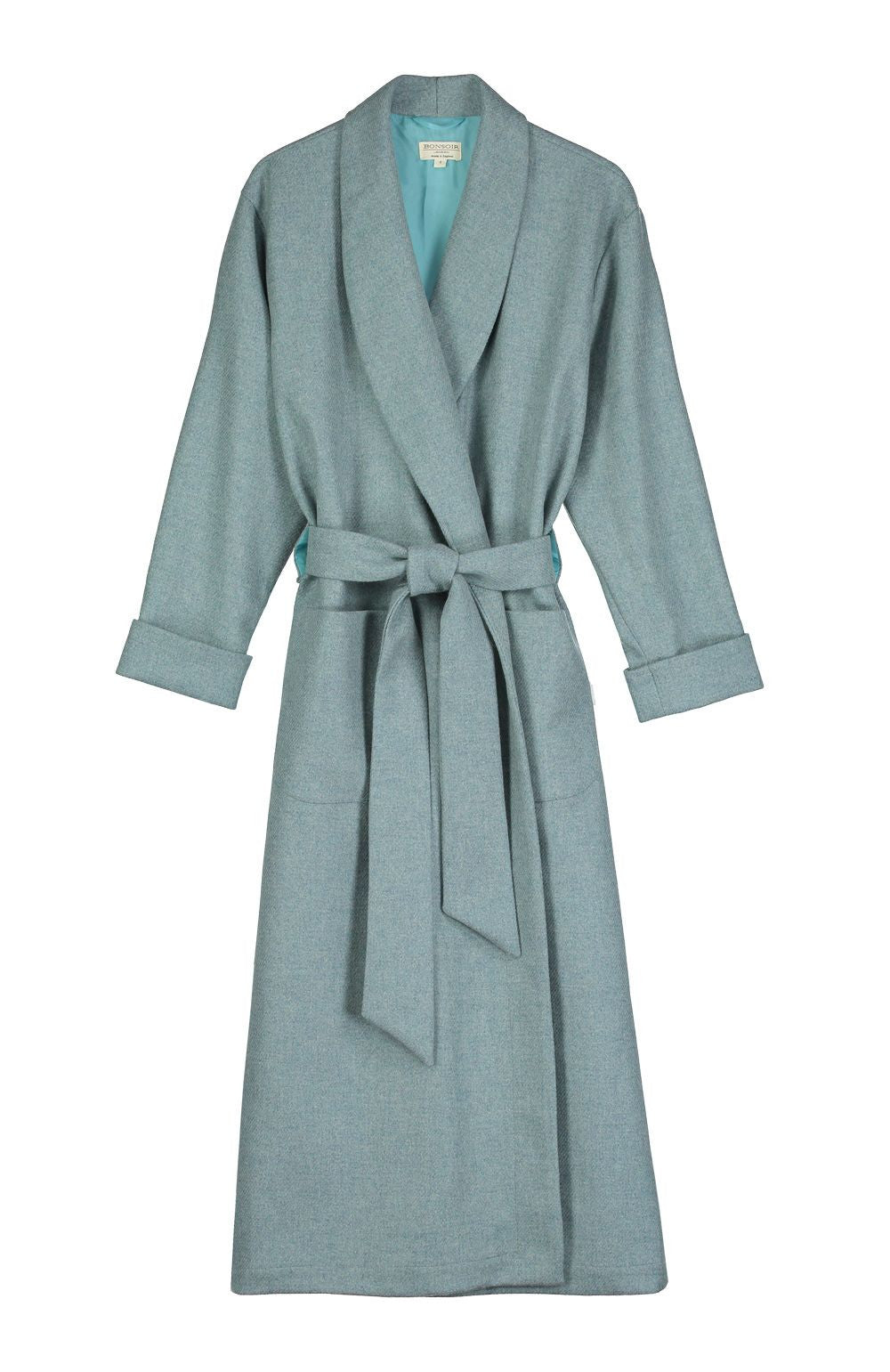 Silk-Lined Wool Robe (wlld)- Aqua