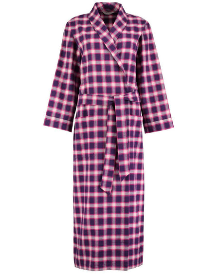 Women's Brushed Cotton Dressing Gown - Linnhe Plaid