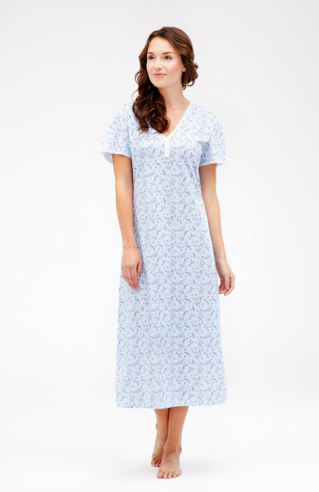 AMY SHORT SLEEVE NIGHTDRESS - BLUE FLORAL | Bonsoir of London