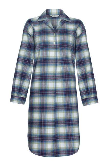 Brushed Tartan Nightshirt (tlnm) - Iona | Bonsoir of London