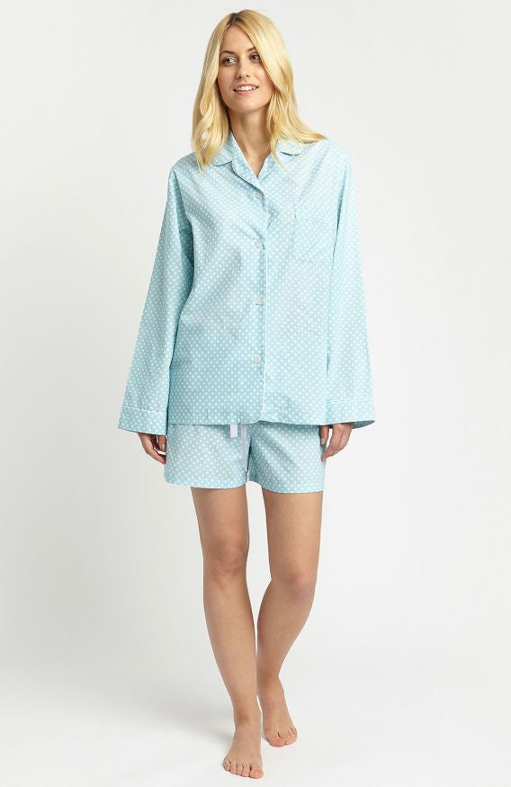 Classic Cotton Short Pyjamas (clfx) - Aqua Polka Dot | Bonsoir of London