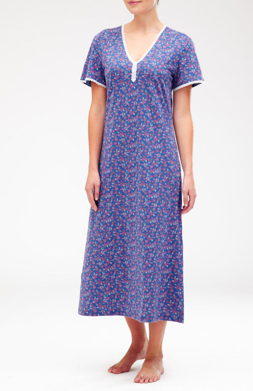 Amy Short Sleeve Nightdress (3a10) - French Blue | Bonsoir of London