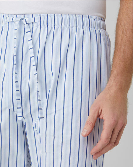 Classic Cotton Blue White Stripe Men's Pyjama Trousers | Bonsoir of London