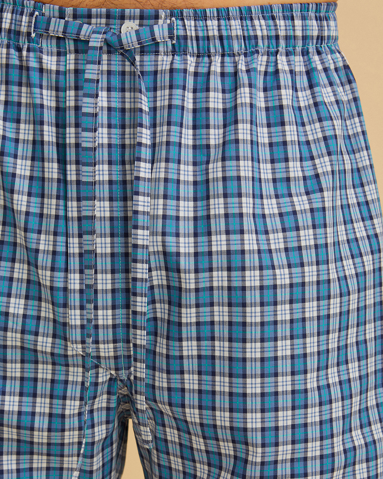 Men's Classic Cotton Pyjama Trousers Blue Check | Bonsoir of London