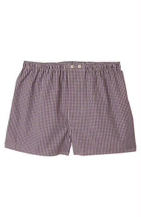 Classic Cotton Plum Check Boxer Shorts | Bonsoir of London