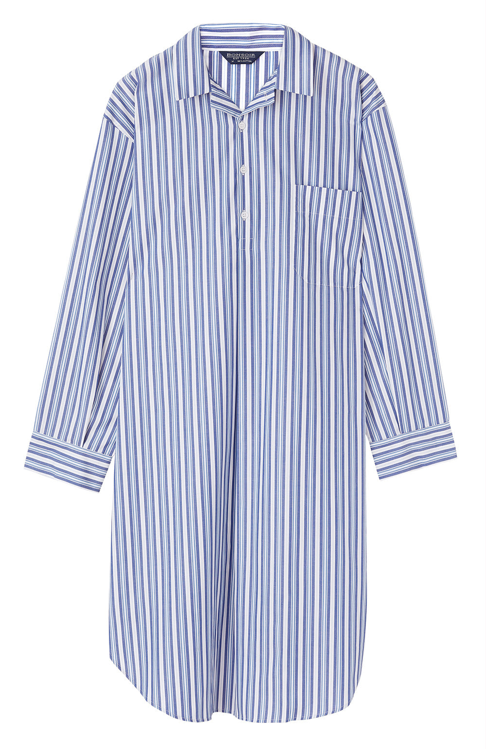Men's Blue Tonal Stripe Classic Cotton Nightshirt | Bonsoir of London