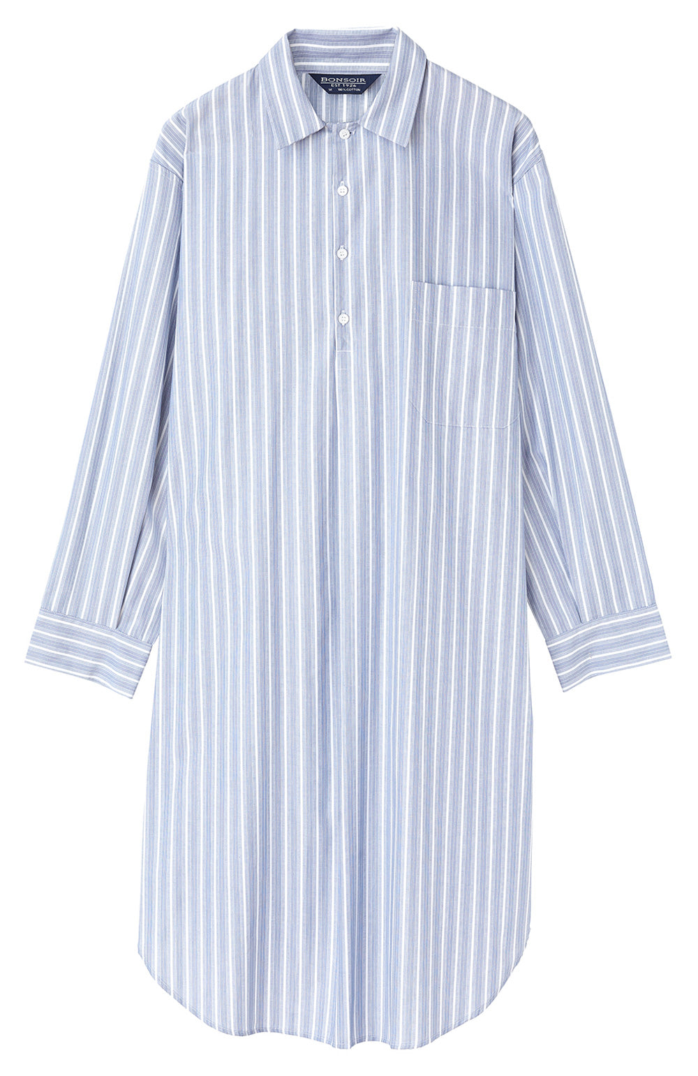 Classic Cotton Blue with Fine White Stripe Nightshirt | Bonsoir of London