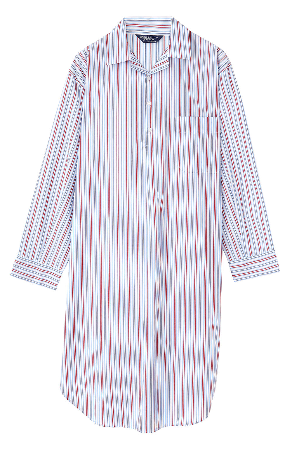 Classic Cotton Sky Red Stripe Nightshirt | Bonsoir of London