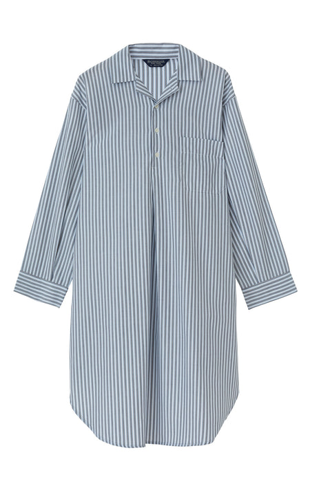 Cotton Twill Striped Nightshirt | Bonsoir of London