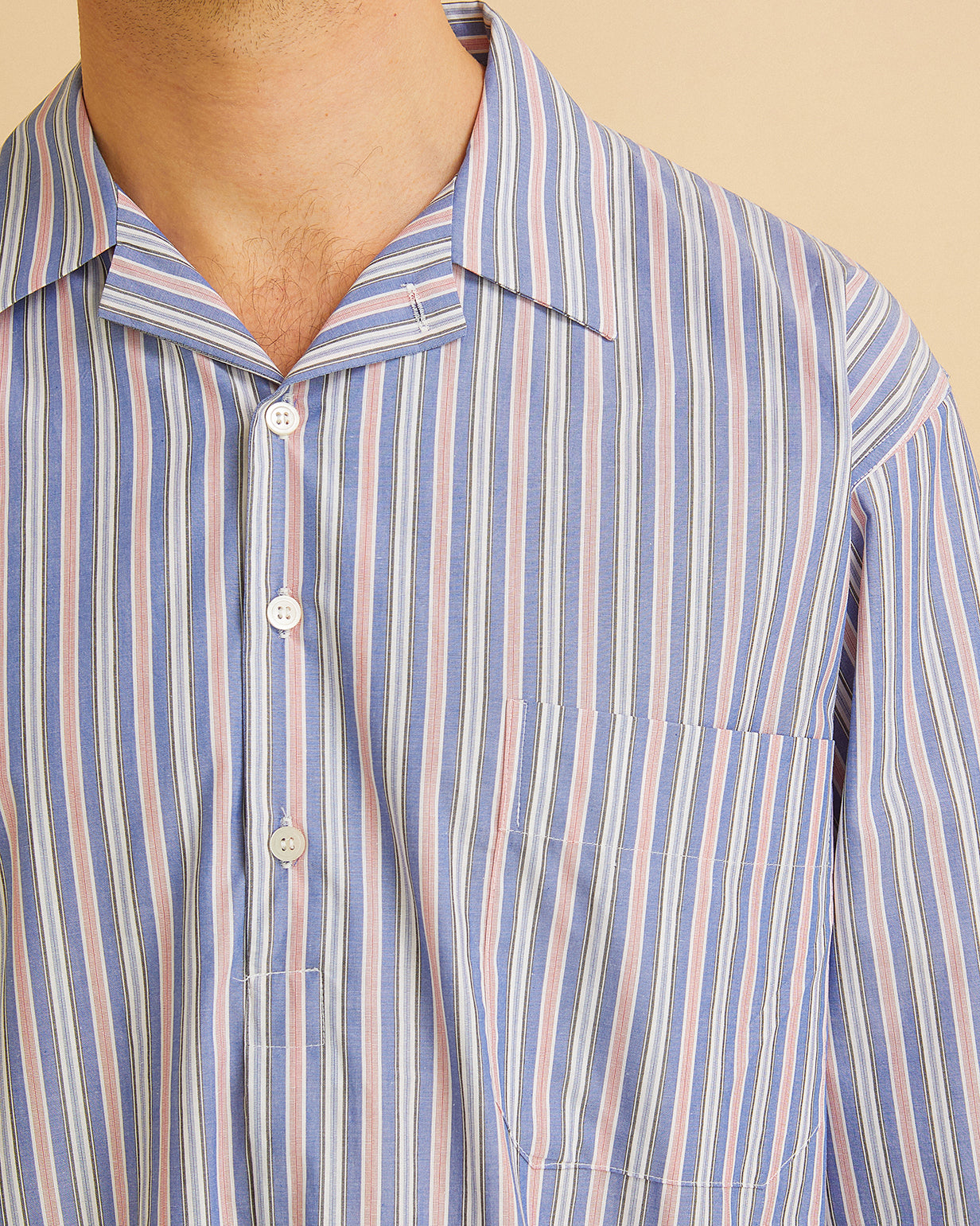Men's Classic Cotton Nightshirt Blue Red Stripe | Bonsoir of London