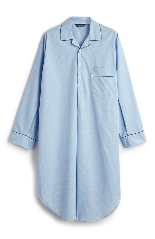 HERITAGE NIGHTSHIRT - SKY GINGHAM | Bonsoir of London