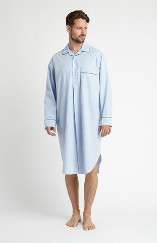 Brushed Cotton Gown (bldg) - Blue Herringbone