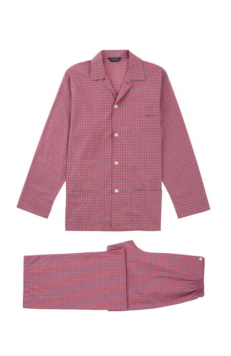 Men's Classic Cotton Red Check Pyjamas | Bonsoir of London
