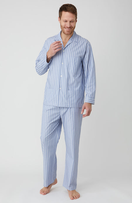 Classic Cotton Blue with Fine White Stripe Pyjamas | Bonsoir of London