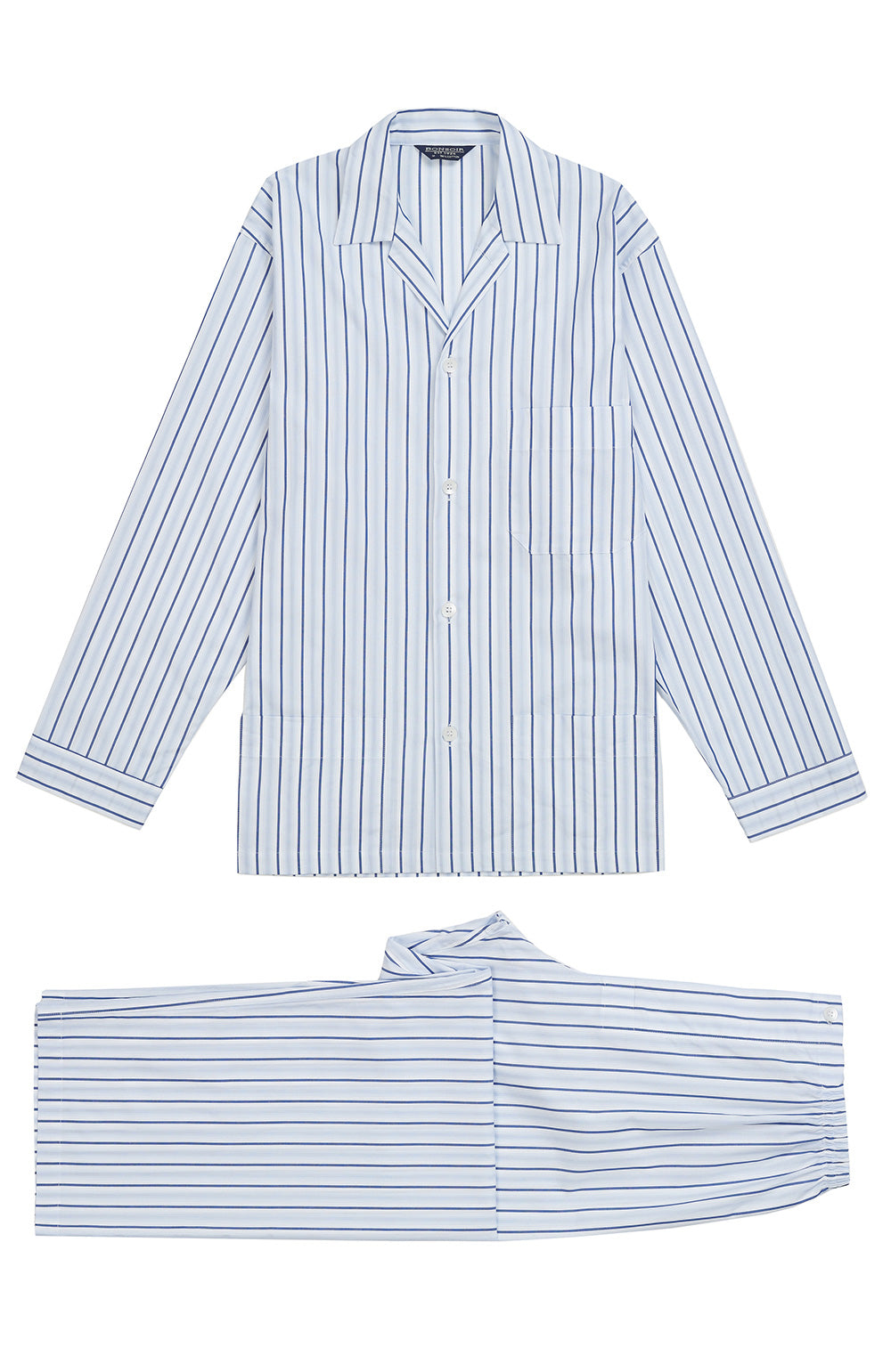 Men's Blue White Stripe Classic Cotton Pyjamas | Bonsoir of London